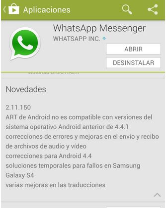WhatsApp nueva actualización
