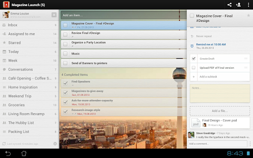 Wunderlist tablet