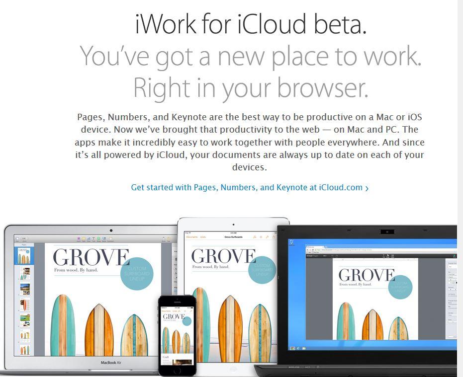 iWork en iCloud para iPad