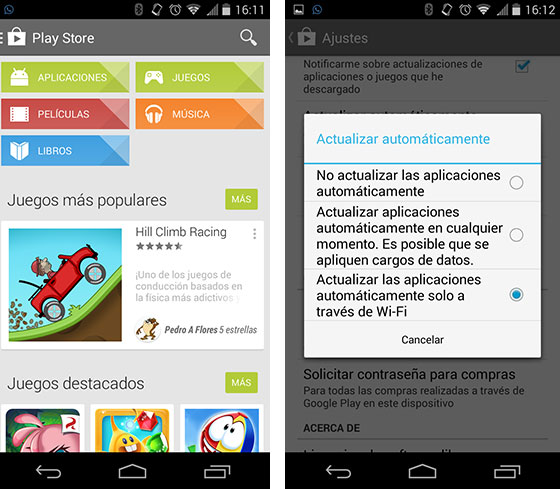 actualizaciones automáticas en Android