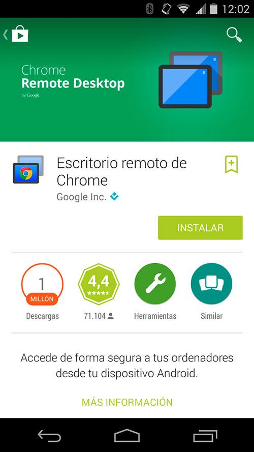 chrome controlar tu ordenador android tablet